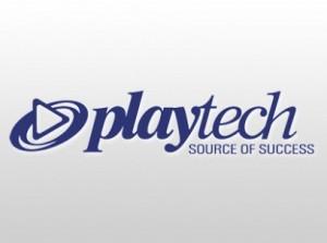 Playtechs logo, oftes sett i lasteskjermen på deres spilleautomater.