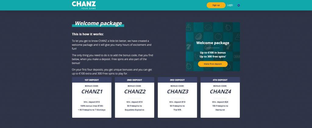Chanz Casino Bonus Skjermbilde